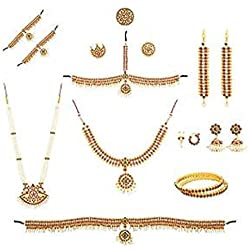 Manav Company Complete Set Bharatanatyam Jewellery With All The 10 Separate Ornaments Made With Red Quality Kemp Stones Set For Women
