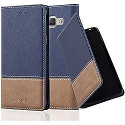 Cadorabo Coque pour Samsung Galaxy A3 2015 en Bleu Brun - Housse Protection avec Fermoire Magnétique, Stand Horizontal et Fente Carte - Portefeuille Etui Poche Folio Case Cover