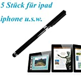 tinxi 5x universal Stylus Stift Touch Pen Eingabestift mit integriertem Kugelschreiber für alle Geräte mit kapazitiven Touchscreen Smartphone Handy PDA Tablet PC wie Apple iPhone 6 5s 5 4s 4 Samsung Galaxy S5 S2 S3 S4 S3 mini i8190 S4 mini S5830 S5830i S5360 Galaxy Note 3 Alcatel One Touch Pop C7 Sony Xperia Nokia Lumia 630 LG Google Nexus HTC Huawei / iPad Air iPad mini 2 Samsung Galaxy Tab 4 2 Tab 3 lite 7.0 Tab 3 10.1 P5200 Acer Iconia B1 A510 A511 A700 Asus Odys Sony Lenovo u.v.a...