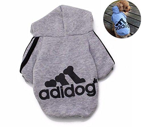 Ropa de Perros Abrigo Suéter de Algodón Caliente Suave con Capucha Nueva Camiseta Casual Adidog para Mascotas Perros Gatos,M-Gris