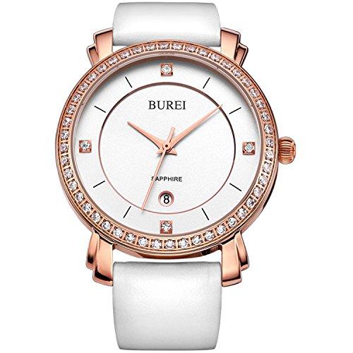 BUREI Damen Uhr Analog Quarz mit Leder Armband Armbanduhr Swarovski Kristalle Rose Gold Lederband weiß (Gold Und Weißen Kleid)