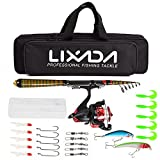 Lixada Fibre de Carbone Télescopique Canne à Pêche et Bobine Combo Kit Complet Spinning Fishing Reel Fishing Lure Gear Organizer Pole Set