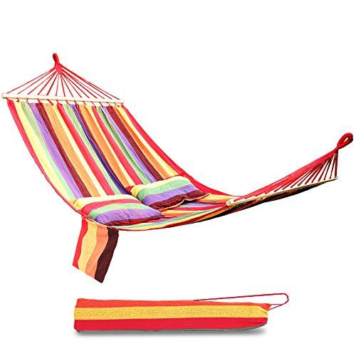 Songmics gdc22w, amaca con barra della serie bali per 2 persone inclusi 2 cuscini, 210 x 150 cm, carico utile fino a 300 kg, strisce arcobaleno