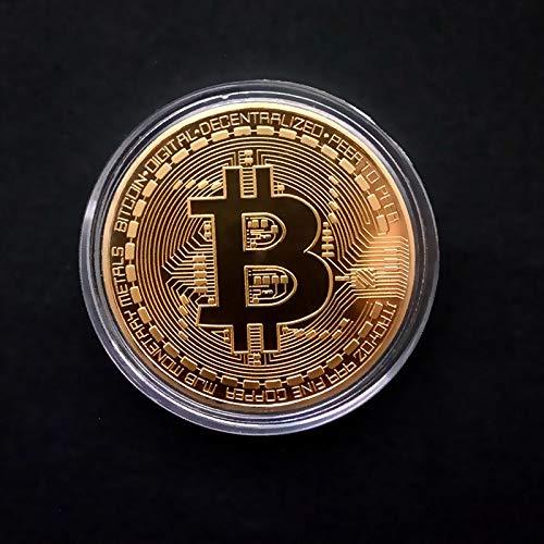 Truteraa - Vergoldete Bitcoin Münzen Sammlerkunstsammlung Geschenk Physische Gedenk Casascius BTC Metall Antike Nachahmung Bit [Gold hat Shell] (Antik-bits)