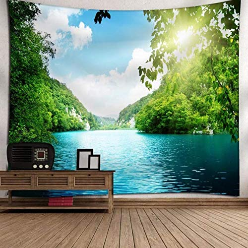 Paisaje Verde Tapiz Colgante de Pared Naturaleza Árbol Pintura Ropa F