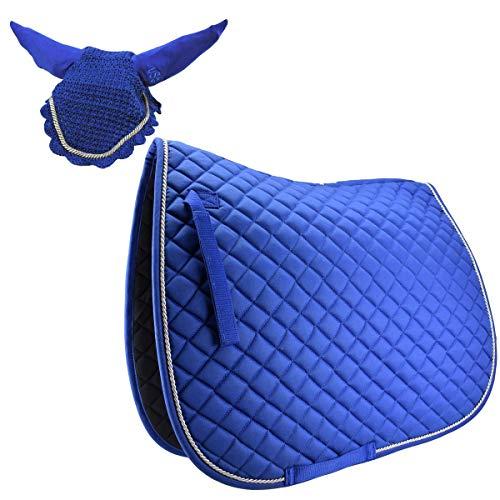 USG Sattelunterlage Schabracke mit passender Fliegenhaube als Set Warmblut VS, Farbe:Royalblau