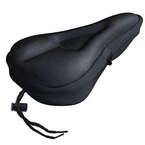 Gel-Abdeckung für den Fahrradsitz Indoor-Zyklus Satteldecken mit wasserdichten Sattelschutz Polsterung Komfortable Fahrradsattel Abdeckung nur für schmale Sattel (Schwarz)