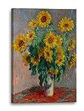 Claude Monet - Ein Strauß Sonnenblumen (1881), 40 x 60 cm (weitere Größen verfügbar), Leinwand auf Keilrahmen gespannt und fertig zum Aufhängen, hochwertiger Kunstdruck aus deutscher Produktion (Alte Meister bis Moderne Kunst). Stil: Impressionismus