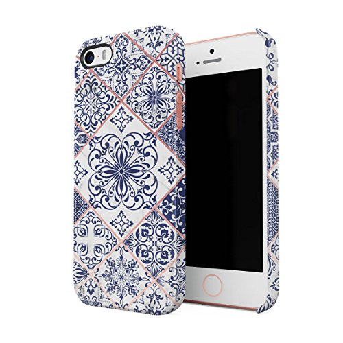 Light Blue Moroccan Ornaments Mosaic On White Marble Hard Thin Plastic Phone Case Cover For iPhone 5 & iPhone 5s & iPhone SE