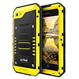 iPhone 6 Plus / 6S Plus Schutzhülle,Wasserdicht Stoßfest Hülle mit Bildschirm Panzer Outdoor Case Schocksicher Militärstandard Armor Handyhülle Metall Defender für Apple iPhone 6Plus / 6SPlus,Gelb