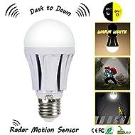 Luxon Ampoule LED 9W E27 avec capteur de mouvement - Radar fixe Capteur Lumière Lampe Blanc Chaud