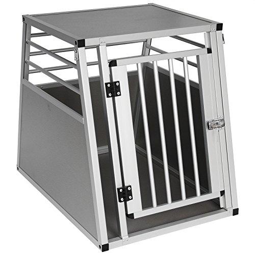WOLTU HT2075sbM2 Hundebox Hundetransportbox Transportbox Alubox Aluminium Alu Box 1 Türig Reisebox Gitterbox Silber