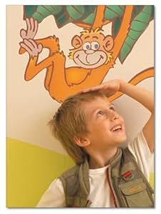 FunToSee Jungle Safari Stickers muraux Singe et girafe