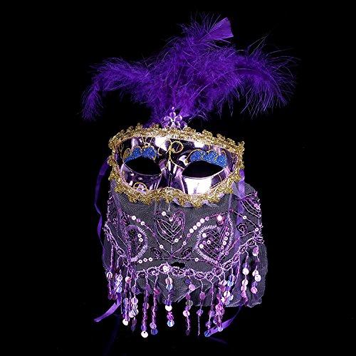 em Maske neuer stil moslem romantic venezianischer maskenball maske lila schleier karneval maskenball halloween - kostüm ()