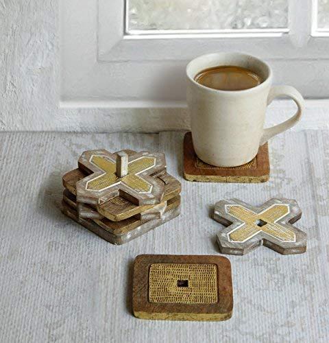 Christmas Gifts Verkauf Rustikal Holz Bar Untersetzer für Drink Set von 4Tee Kaffee Tasse Untersetzer Tabletop-Esszimmer Zubehör Home Décor, Hartholz, white & gold distress, 10,16 cm (Rustikal-media-möbel)