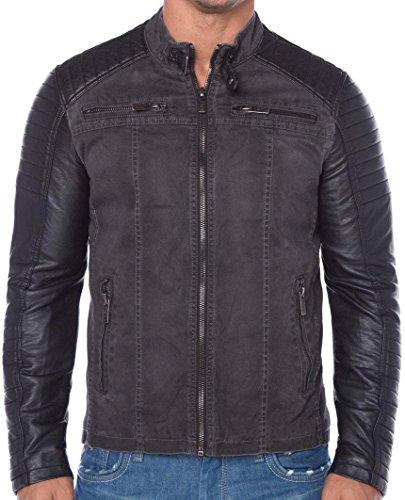 Red bridge giacca in eco pelle da motociclista, con settori trapuntati grau small