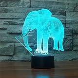 3D Lampe USB Power 7 Farben erstaunliche optische Täuschung 3D wachsen LED Lampe Elefant Formen Kinder Schlafzimmer Nachtlicht