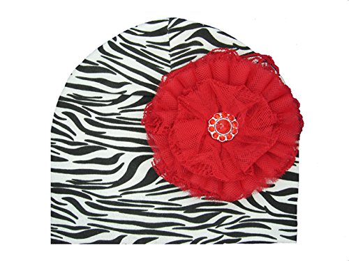 a Print Hat with Red Lace Rose (Zebra Print Hüte)