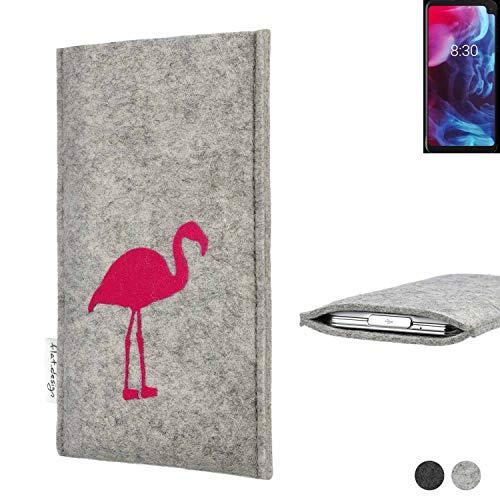 flat.design Handy Hülle für Archos Oxygen 63XL FARO mit Flamingo Filz Schutz Tasche fair handgemacht Case
