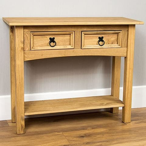 Home Discount Corona 2 Drawer Pine Console Table With Shelf Solid Waxed Pine Mexican Furniture