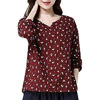 Luckycat Suelta Camisa De Manga Larga para Mujer con Estampado Floral Suelta, Color Azul y Rojo, Algodón y Lino