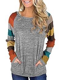 Camiseta de Las Mujeres EUZeo Invierno Rayadas Otoño Manga Larga Moda Camisetas Elegante Cuello Redondo Fiesta Suelta Tops Deporte Básica Blusas Casual Tallas Grandes Pullover