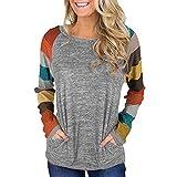 UJUNAOR Frauen Patchwork Langarm Gestreift Bluse Frühling T-Shirt mit Rundhalsausschnitt(Orange,CN L)