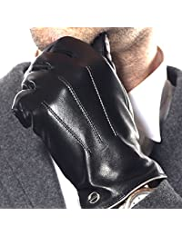 ELMA Men's Touchscreen Texting Winter Driving Nappa Leather Gloves (Cashmere/Fleece Lining)
