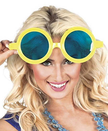 Halloweenia - Runde Jumbo Brille, Kostümzubehör, Karneval, Fasching, Gelb
