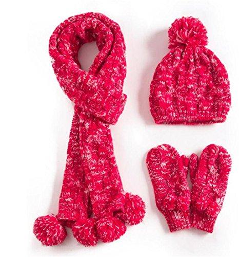Hat Kit Gants Echarpe Chapeau Trois pièces Femmes d'hiver vague coréenne Sweet Sweet Balle mignon Warm Tricoter ( couleur : Rose ) Rouge