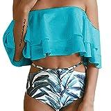 Off Shoulder Bikini Set Push Up,TWIFER Damen Bademode Badeanzug