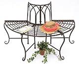 DanDiBo Banc 121071 Banc de jardin a. Métal 127cm Banquette Banc de pourtour d'arbre Banc circulaire Banc de parc brun