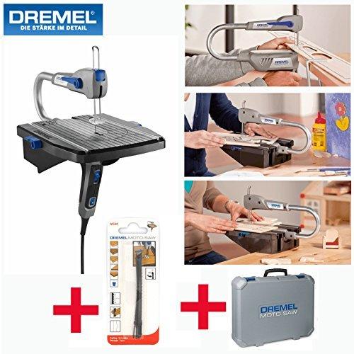 Preisvergleich Produktbild DREMEL Dekupiersäge Laubsäge Modellbau Säge Moto Saw -inklusive 5-tlg. Sägeblattset für seitliche Schnitte, 5-tlg. Sägeblattset, Parallelanschlag und Koffer