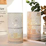JHY DESIGN Set of 2 White Table Metal lamp Battery Powered Cordless Accent Light with Edison Style Bulb Battery Operated Grea