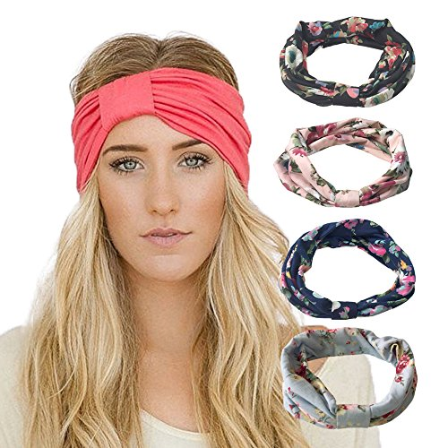 DRESHOW-4-Pack-Headbands-Vintage-Elastic-Printed-Head-Wrap-Stretchy-Moisture-Solid-Color-Criss-Hairband-for-Women