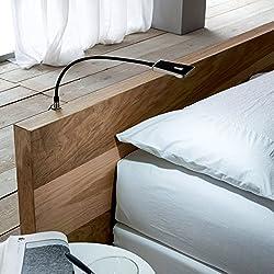 """2x SO-TECH® Lampe liseuse flexible""""Luminoso"""" LED Lampe de chevet DEL Lampe pour lire LED Lampe de lecture noir incl. Alimentation électrique"""