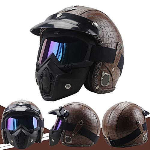 ETH Knopfmütze entlang der taktischen Maskensturzhelm des cs-Armeefächers/schwarzbrauner halber Sturzhelm/Karierter Retro- Motorradkreuzfahrtsturzhelm Qualität (Farbe : Brown, Size : L) -