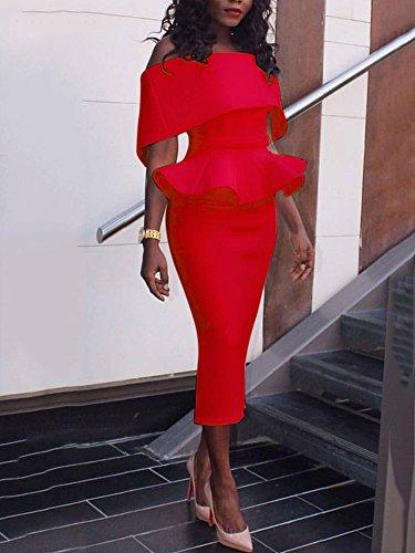 Boutiquefeel Damen Schräge Schulter Fold-over Schulter Peplum Bodycon Kleid Rot