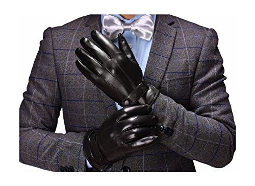 Alami Männer Nappa Leder Handschuhe, reines Cashmere, warmes italienisches Lammfell, Touchoption für Chatten & Bedienen, Fahren im Winter