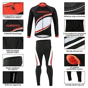 TOMSHOO Ropa de Ciclismo Hombre Jersey de Manga Larga y 3D Gel Pantalones Largos Cómodo Transpirable Secado Rápido Primavera y Otoño