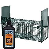Lebendfalle Secure-M 64 cm + 500 ml Hagopur Marder Lockstoff - zuverlässige & sichere Tierfalle mit 2 Eingängen - sofort einsatzbereit & wetterfest - ideal für Marder, Kaninchen, Katzen, Ratten