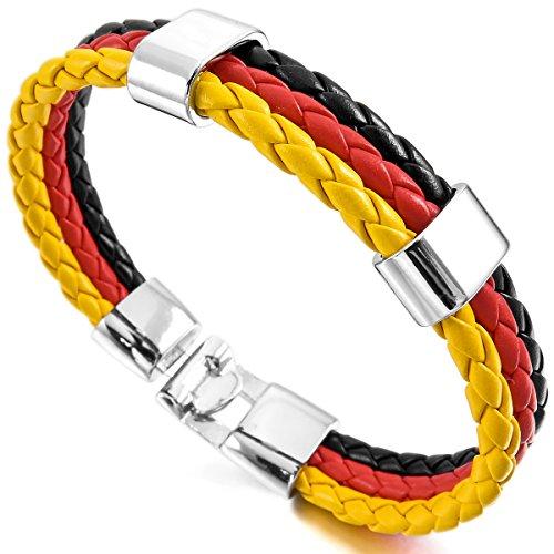 MunkiMix Metalllegierung Legierung Leder Armband Armreifen Manschette Silber Ton Schwarz Rot Gelb Deutsch Deutschland Deutsch Deutschland Flagge Herren,Damen