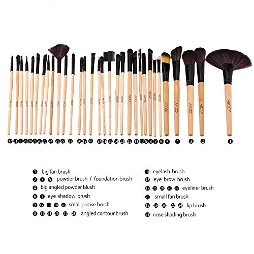 Abody 32Pcs Professional Make Up Brush Set Cosmetic Makeup Tool Kit Fundation Eyeshadow Brushes Lip Powder Eyebrow Brush With Bag (Black Ferrule)