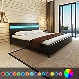 Vislone Lit avec LED Lit Double pour Adulte en Bois 200 x 180 cm Cuir Artificiel Noir