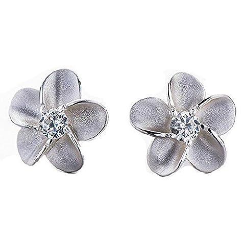Double FNT Mat brossé avec incrustation Fleur Feuille–Argent Sterling coupe ronde Diamant Boucles d'oreilles clous