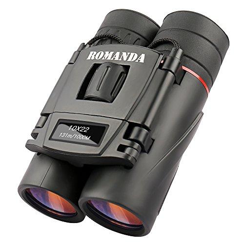 Mini Fernglas,Romanda 10 x 22 Klein Nachtsicht Fernglas Ferngläser Binocular,Kompakt Faltbare HD Wasserdicht Feldstecher Teleskope mit Tragetasche für Vogelbeobachtung, Wandern, Jagen, Sightseeing