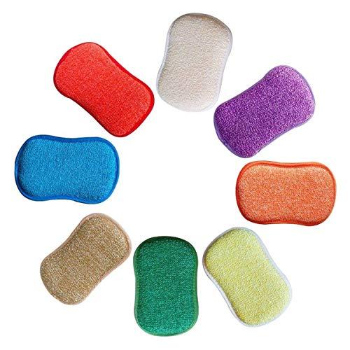 TOOGOO Antibakterielle Microfaser Küche Reinigungspads Doppelseitige Schw?mme Topfreiniger für Das Abwischen von Bürsten,Perfekt für Antihaft Pfannen T?pfe,Packung mit 5 zuf?llige Farben