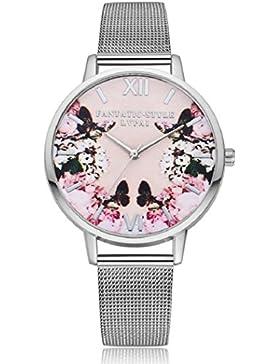 lvpai Damen Butterfly Flower Print runden Zifferblatt Mesh Band Quarz Armbanduhr–Silber