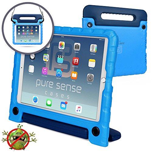 iPad PRO 10.5 Pure Sense Buddy Custodia Protettiva Anticaduta per Bambini, Robusta, Cover con Tracolla, Antibatterica, Antigermi, Massima Solidità + Manico, Supporto, Blu