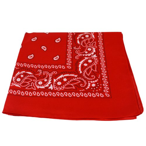 Womens Kostüm Tin Mann - Bandana Tuch rot Paisley 100% Baumwolle Halstuch rotes Kopftuch Schal
